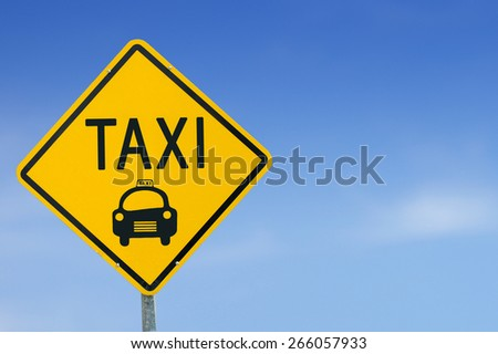 Taxi Icon road sign on sky background