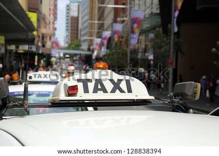 Taxi in Sydney. Australia - stock photo