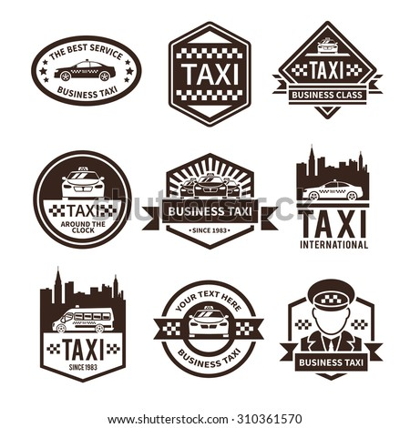 Taxi international public auto car transportation service black label set  illustration - stock photo