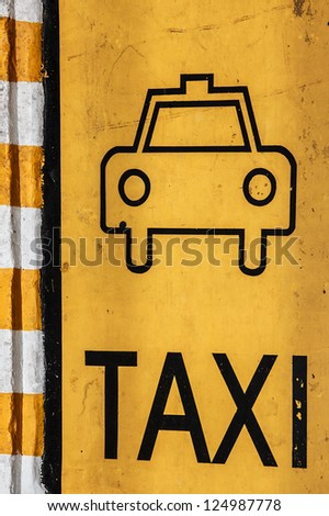 Taxi Parking Lot, Traffic Sign, Top View - stock photo