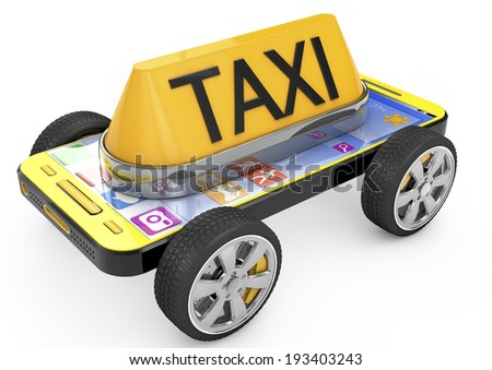Taxi sign and Smartphone on wheels, metaphor of taxi. 3d image