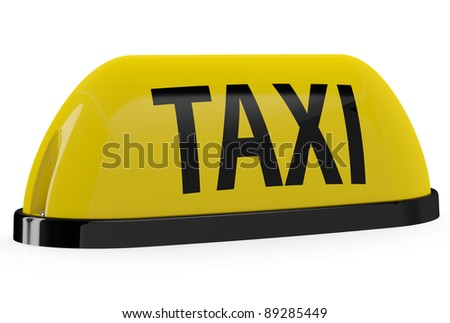 Taxi sign. 3D model isolated on white background - stock photo