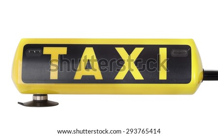 Taxi sign isolated on white  - stock photo