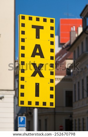 Taxi sign on street in Bratislava - stock photo