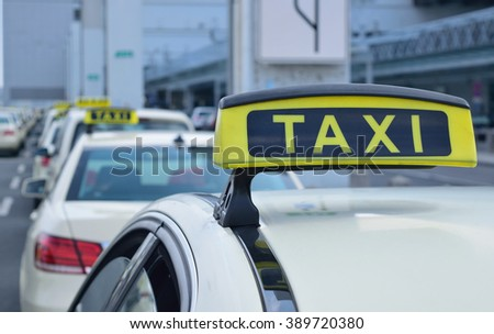 Taxi station in front of an airport