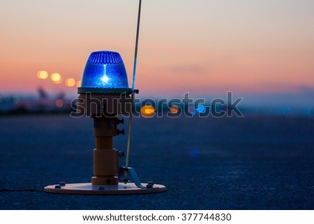 Taxiway, side row lights - stock photo