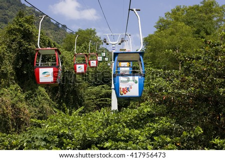 TAY NINH, VIETNAM - APRIL 19, 2016:Cable car up the mountain of the Black Woman, Nui Ba Den volcanic cone, Tay Ninh, Vietnam, Asia
