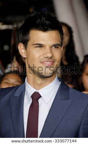 Taylor Lautner at the Los Angeles premiere of 'The Twilight Saga: Breaking Dawn Part 1' held at the Nokia Theatre L.A. Live in Los Angeles, USA on November 14, 2011.