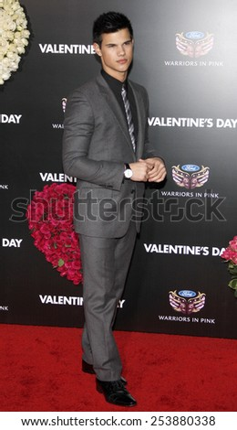"Taylor Lautner at the Los Angeles Premiere of ""Valentine's Day"" held at the Grauman's Chinese Theate in Hollywood, California, United States on February 8, 2010.  - stock photo"