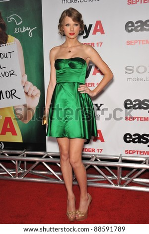 """Taylor Swift at the premiere of """"Easy A"""" at Grauman's Chinese Theatre, Hollywood. September 13, 2010  Los Angeles, CA Picture: Paul Smith / Featureflash - stock photo"""