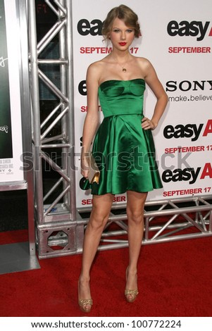 """Taylor Swift at the premiere of """"Easy A,"""" Chinese Theater, Hollywood, CA. 09-13-10 - stock photo"""