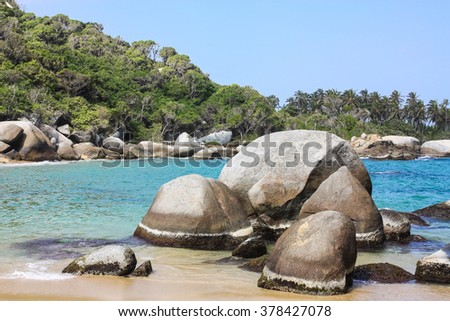 Tayrona National Park, located in the Caribbean Region in Colombia. 34 km from the city of Santa Marta is one of the most important natural parks of Colombia. I - stock photo