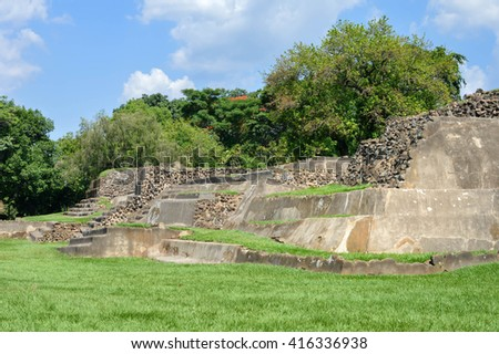 Tazumal archaeological site of Maya civilization in El Salvador. It is an architectural complex within the larger area of the ancient Mesoamerican city of Chalchuapa, - stock photo