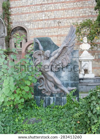 TBILISI, GEORGIA - AUGUST 08, 2013:The tomb of the Georgian ballet dancer Vakhtang Chabukiani in the Mtatsminda Pantheon of Writers and Public Figures in the Tbilisi. Republic of Georgia - stock photo