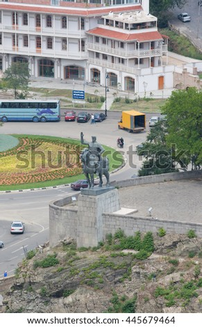 TBILISI, GEORGIA -AUGUST 7,2013:Vakhtang I Gorgasali statue in Tbilisi, Georgia - stock photo