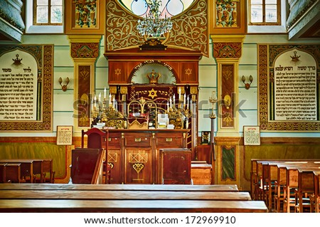 TBILISI, GEORGIA - JULY 15: Interior of the Tbilisi Great Synagogue on July 15, 2013 in Tbilisi, Georgia. The building was built from 1895 to 1903 in an eclectic style by Georgian Jews - stock photo