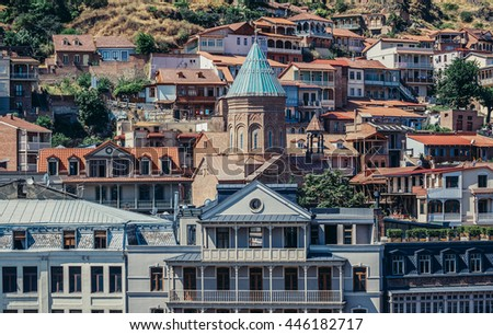 Tbilisi, Georgia - July 18, 2015. View of XIII century St George cathedral, Armenian church on the oldest part of Tbilisi