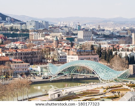 TBILISI, GEORGIA - MARCH 01, 2014: View of the center of Tbilisi, the capital of Georgia, with the Bridge of Peace.