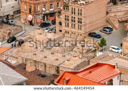 Tbilisi, Georgia - May 19, 2016: Scenic View Of Tbilisi Old Town, Georgia. Historic District. Abanotubani - Bath District - Is The Ancient District Of Tbilisi, Georgia, Known For Its Sulfuric Baths.