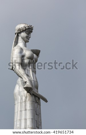 TBILISI, GEORGIA - 07 MAY 2016: Statue of Mother Georgia. The memorial is 50 meters high and watches over Georgia from a hill above Tbilisi.