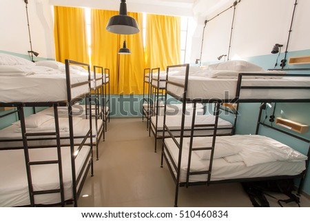 TBILISI, GEORGIA - OCT 8: Modern interior of dormitory room with bunk beds in new hostel style for many students on 8 October, 2016. The annual number of tourists in Georgia reached 2,300,000 people