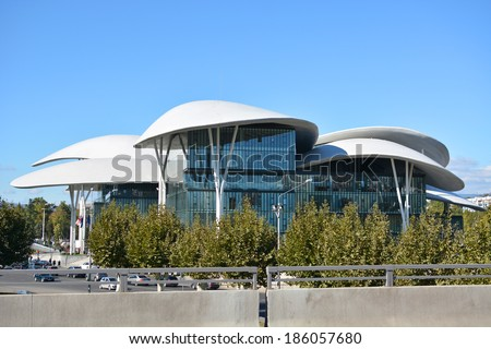 Tbilisi, Georgia - October 7, 2013: Public Service Hall (modern building of Ministry of Justice and the Civil Registry Agency) designed by Massimiliano and Doriana Fuksas.