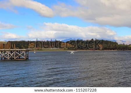 Te Anau Lake in New Zealand - stock photo