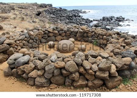 Te Pito O Te Henua - The Navel of the Earth, Easter Island - stock photo