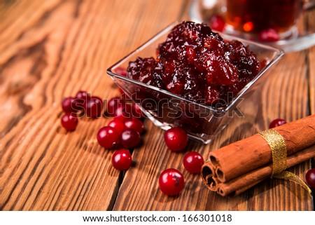tea and jam - stock photo