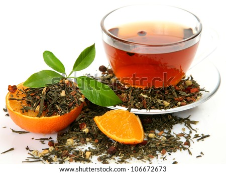 Tea and orange