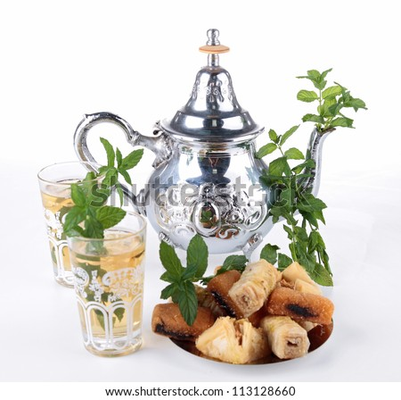 tea and pastry - stock photo