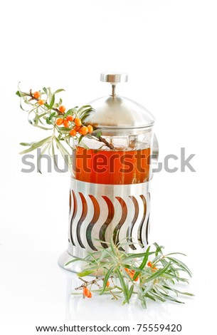 tea and sea buckthorn is isolated on a white background