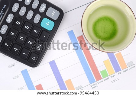 Tea and trend graph - stock photo