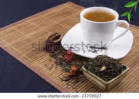 Tea and white cup - stock photo