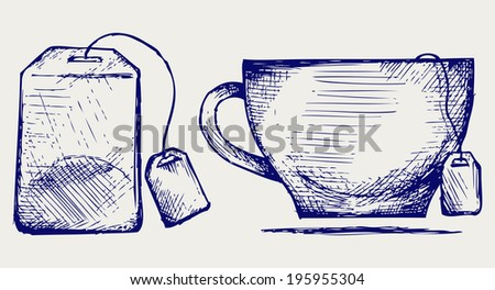 Tea bag and cup. Doodle style. Raster version - stock photo