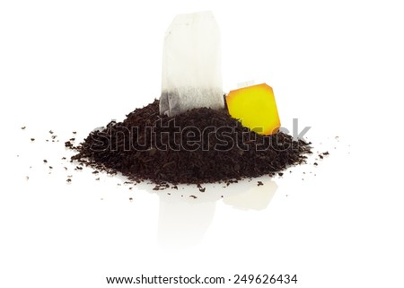 Tea bag isolated on white background. A bunch of black tea. - stock photo