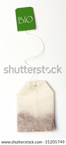 Tea bag on white background and easy to remove the text - stock photo