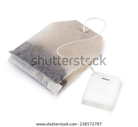 tea bag  with label isolated on white background