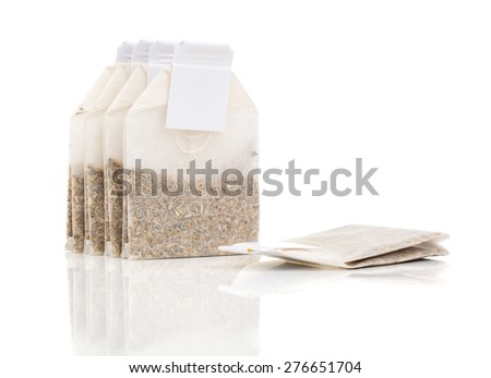 Tea Bags , isolated on white background - stock photo
