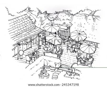 tea cafe, coffee, cake shop in the garden illustration - stock photo