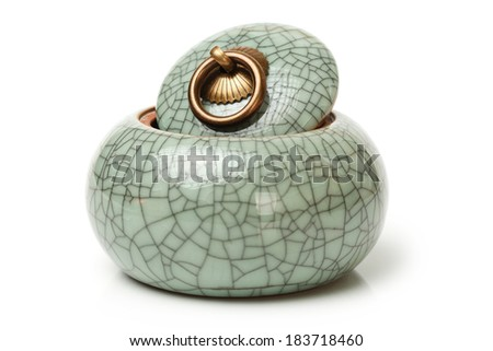 tea canister on white background