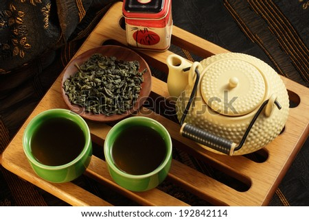 Tea ceremony, green tea, tea pot and tea cups - stock photo