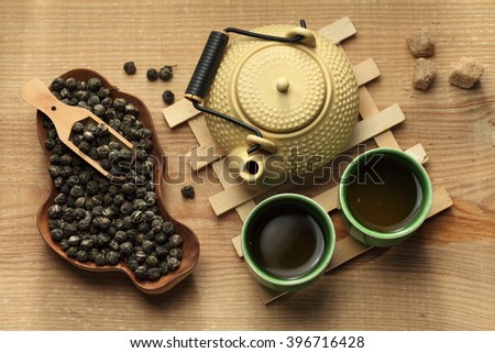 Tea ceremony, green tea, tea pot and tea cups