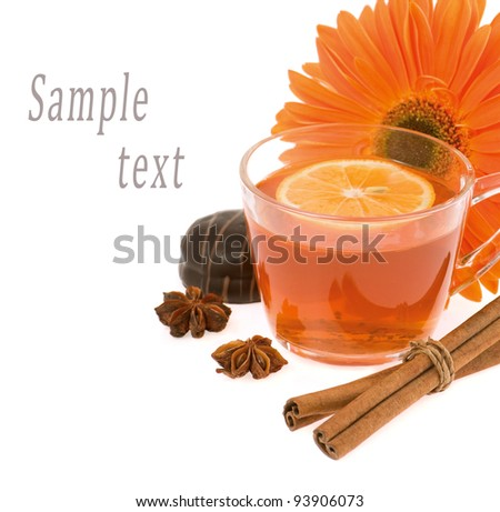 tea,cinnamon,anise,gerbera on a white background