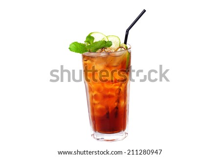 tea cocktail with lemon and ice on a white background