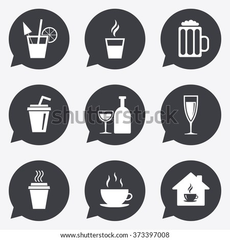 Tea, coffee and beer icons. Beer, wine and cocktail signs. Take away drinks. Flat icons in speech bubble pointers.