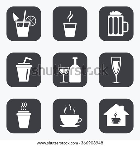 Tea, coffee and beer icons. Beer, wine and cocktail signs. Take away drinks. Flat square buttons with rounded corners.