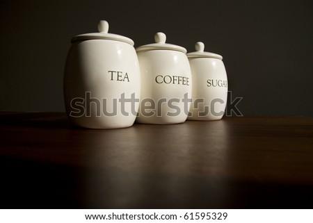 Tea, Coffee and Sugar pots - stock photo