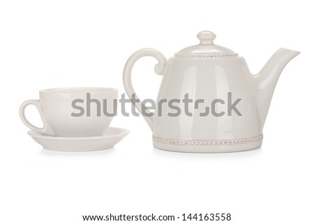 Tea collection: empty ceramic cup and pot isolated on white background - stock photo