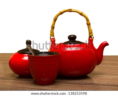 tea composition on a white background - stock photo